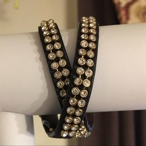 C&I Studded Leather Multi Wrap Bracelet (gold)
